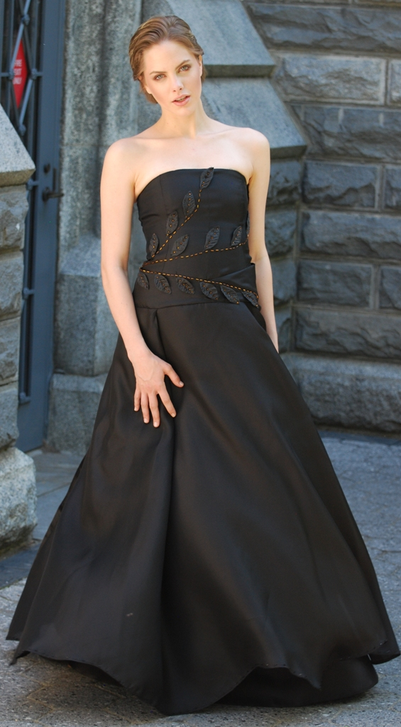 Black Organza Silk Satin Gown with copper beading
