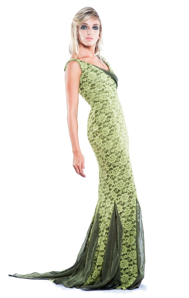 green lace mermaid gown