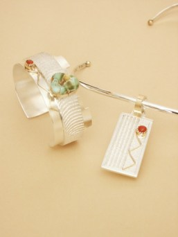Cuttlebone Cast Sterling with Carico Lake Turquoise and Coral stones and 18K Gold Accents - Set
