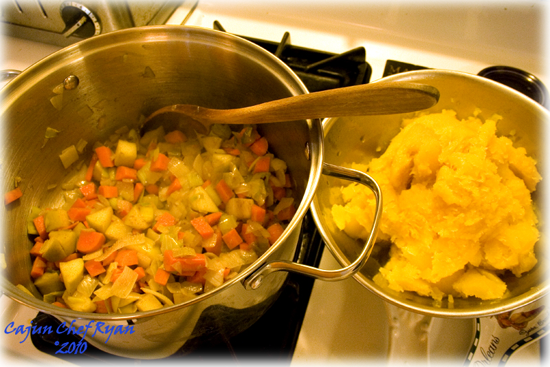 Sauté the carrot, apple, onion, and leek in the olive oil until soft.
