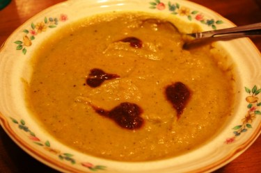 Anti Cancer Soup with Fire Roasted Tomato Dressing Garnish