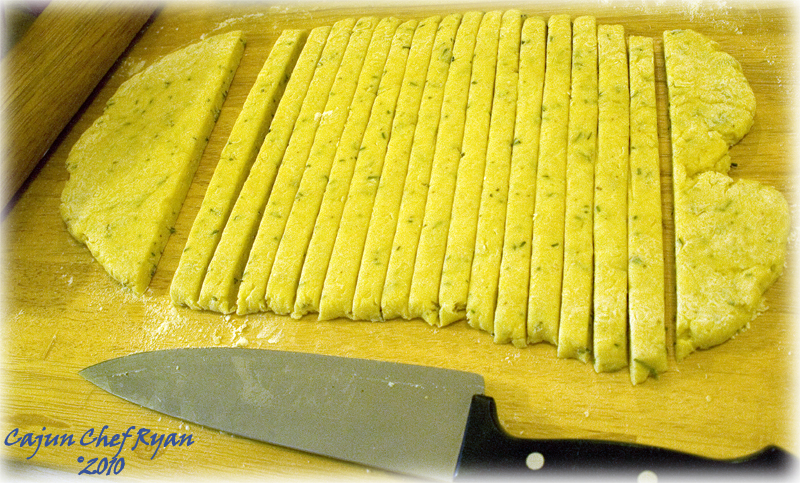 Cut out sticks of dough 1/2-inch wide.