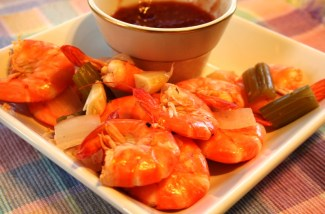 Boiled Peel and Eat Shrimp with Cocktail Sauce