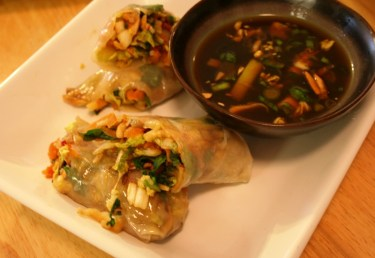 Pan steamed spring rolls for American wholefoods cuisine