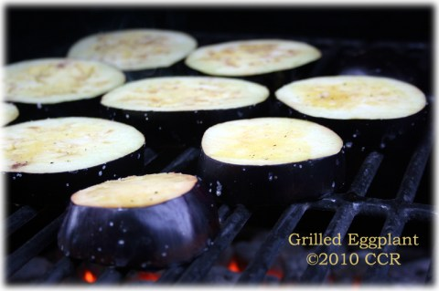 Eggplant on the grill, first side down