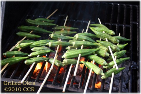 Grilling Okra on the coals
