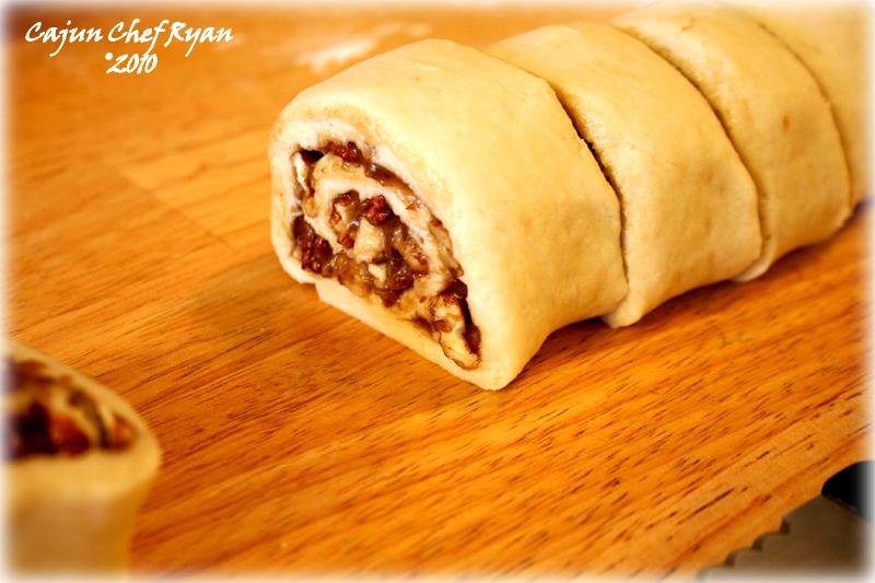 Pecan Praline Dough, cut