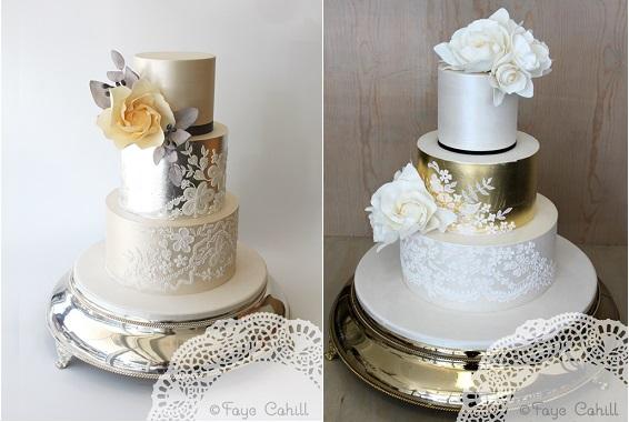 Lace Amp Metallics Wedding Cake Design Cake Geek Magazine