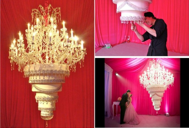 chandelier wedding cake by The Butter End Cakery for the wedding of Kelly Cuoco