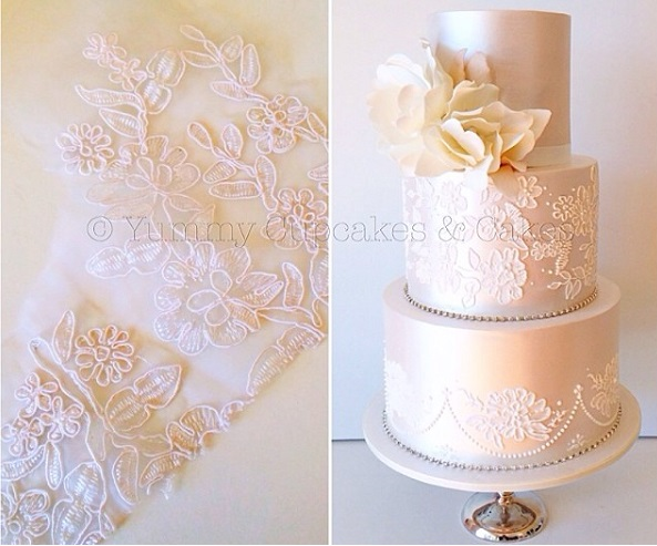 pearl beaded lace wedding cake by Yummy Cupcakes & Cakes