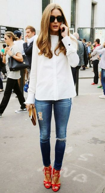 Pinterest favorites - Slim déchiré & Escarpins rouges - Olivia Palermo