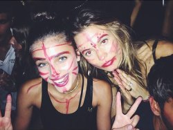 Behati Prinsloo & Taylor Hill after the Alexander Wang Fashion Show