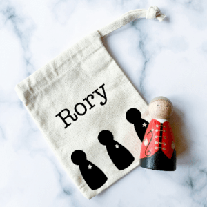 Personalised Canvas Drawstring Bag with Star Peg Doll Design
