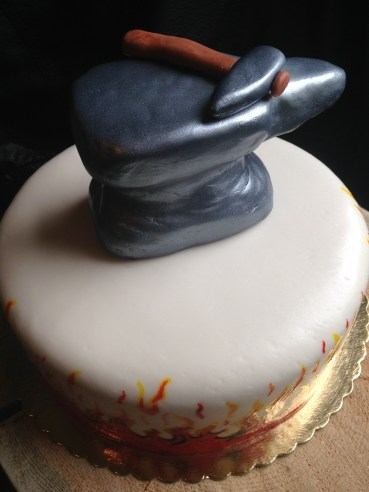 Chocolate raspberry Anvil and fire cake