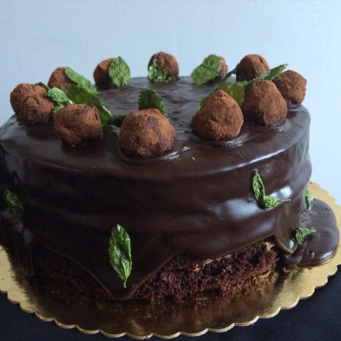 Chocolate mint truffel cake