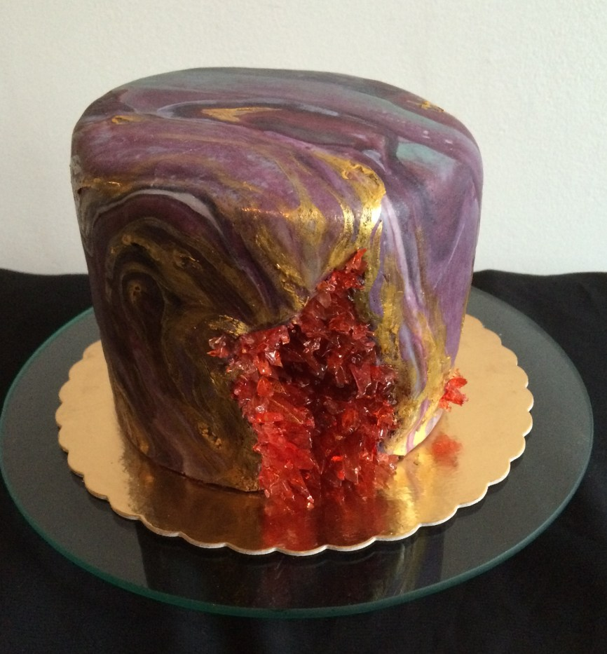 Geode cake with marble fondant and sugar crystals