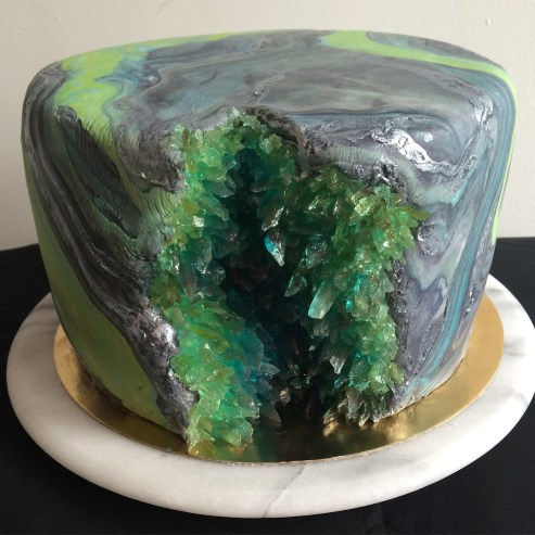 Geode cake, vanilla cream cake with marble fondant and sugar crystals.