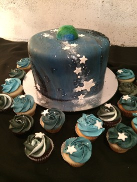 Lemon raspberry cake with Chocolate & Vanilla cupcakes in space