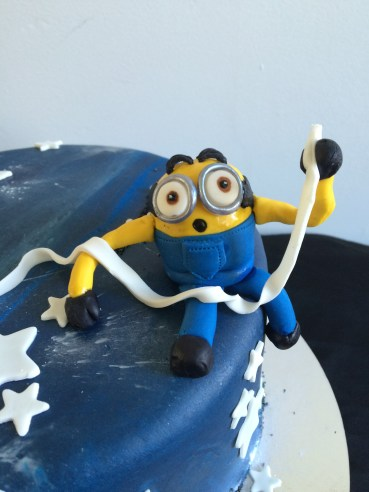 Chocolate mixed berry Minions in space cake