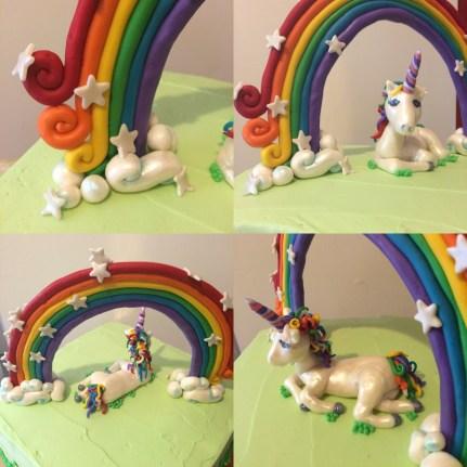 Rainbow Unicorn cake, lemon raspberry cake with a fondant rainbow and unicorn.