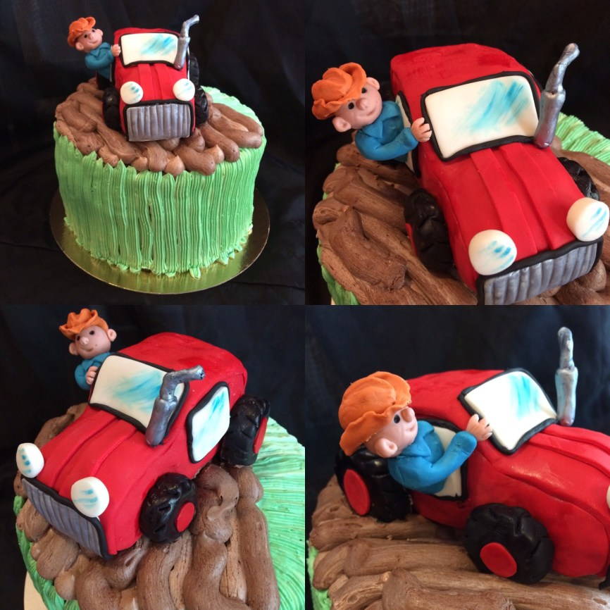 Chocolate strawberry little farmer in his tractor cake