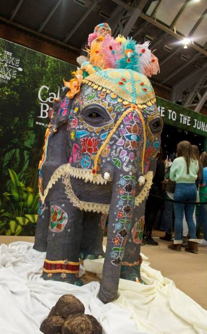 The elephant, built by Dawn Butler, Monkey by Emma Ball and decorated by the team