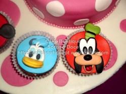 Bolo e Cupcakes Disney - Mickey, Minie, Donald, Margarida, Pateta e Pluto
