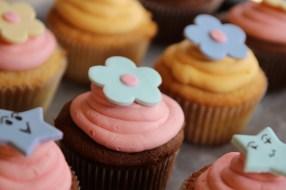 Fondant topped cupcakes