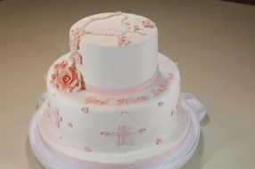 Rose Themed Communion Cake