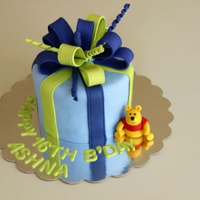 Blue Green Gift Wrapped Cake