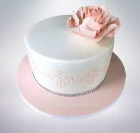 Confirmation Cake with Peony
