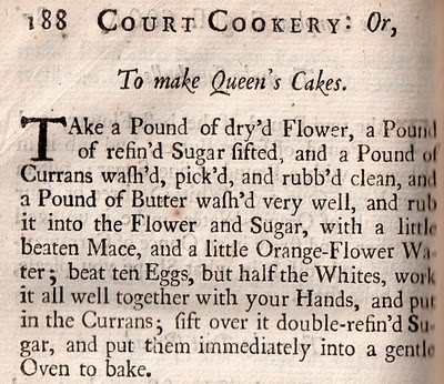 Een oud queen's cake recept van R. Smith, Court Cookery uit 1724.