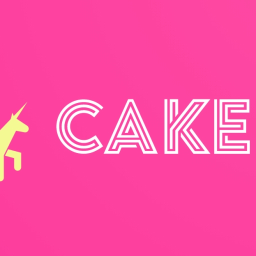 Cake logo. White graphical text on a bright pink background. Front half of a yellow unicorn, also a graphic, on left side.