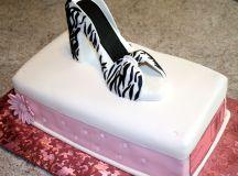 Shoebox Cake and Zebra Print High Heel Sugar Shoe images 2
