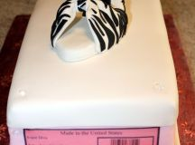 Shoebox Cake and Zebra Print High Heel Sugar Shoe images 1