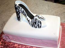 Shoebox Cake and Zebra Print High Heel Sugar Shoe images 0