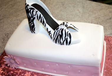 Shoebox Cake and Zebra Print High Heel Sugar Shoe