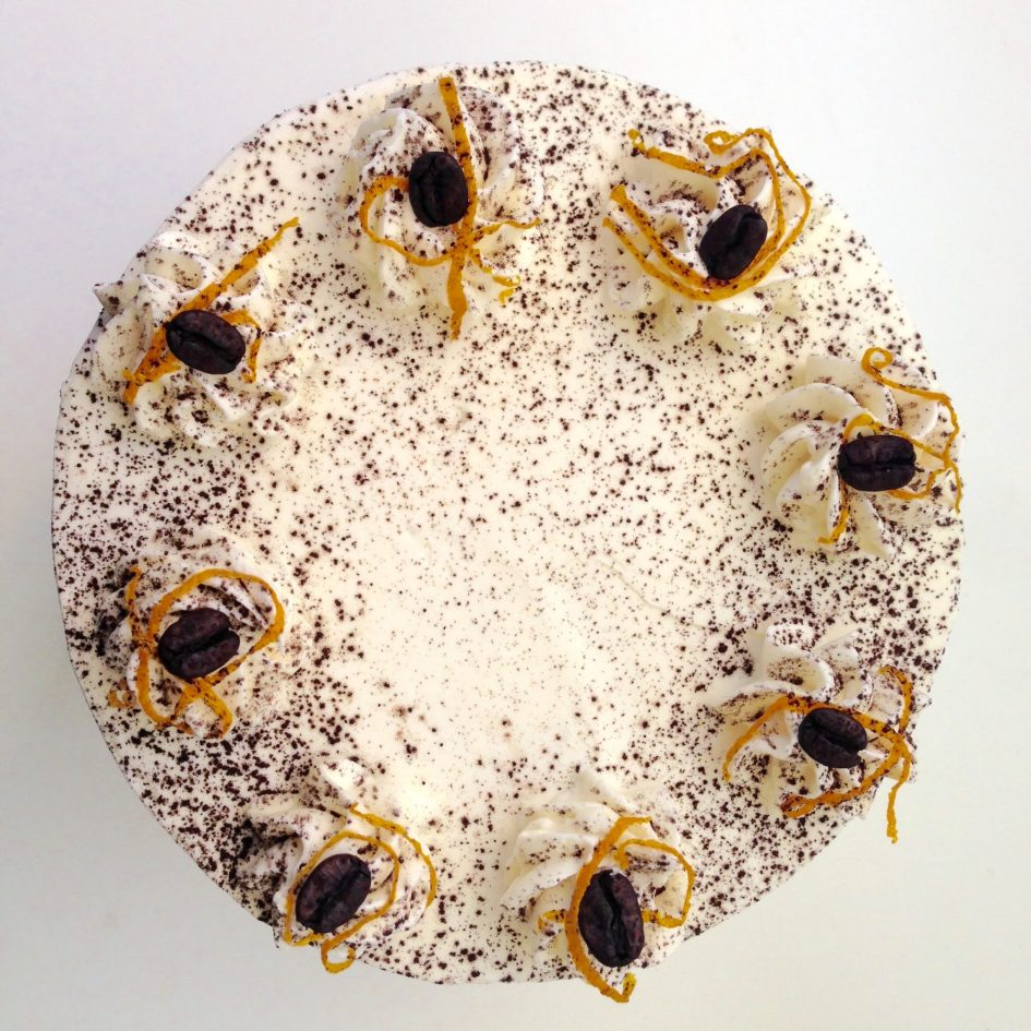 White Dark Chocolate Orange Cake Top