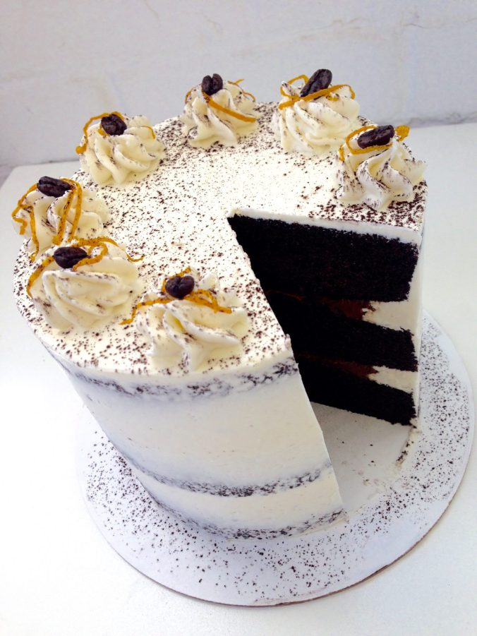White Dark Chocolate Orange Cake Slice