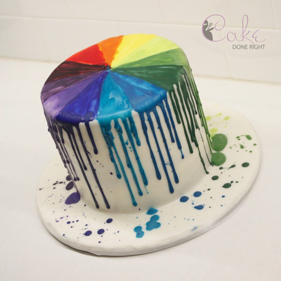 Rainbow drip color wheel birthday cake