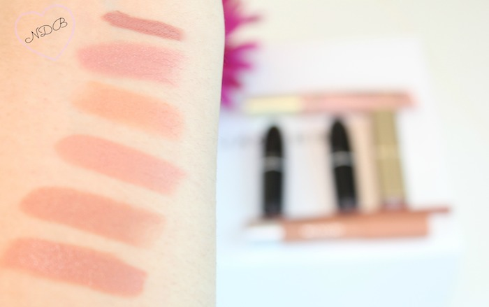 Nude lipstick swatches; MAC, Too Faced, NYX, Revlon, L'Oreal
