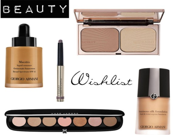 beauty wishlist, Giorgio Armani luminous silk foundation, Armani liquid bronzer, By Terry Misty Rock, Marc Jacobs Lover palette, Charlotte Tilbury Bronze and Glow