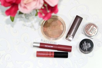 What are your favoite drugstore makeup products? Milani Illuminating face powder in Amber Nectar, Maybelline Touch of Spcie lipstick, L'oreal Infallible eyeshadow in Amber Rush, Maybelline Color Tattoo in Chocolate Suede, Revlon Matte Lip Balm in Sultry, NYX Matte Lip Cream in Antwerp