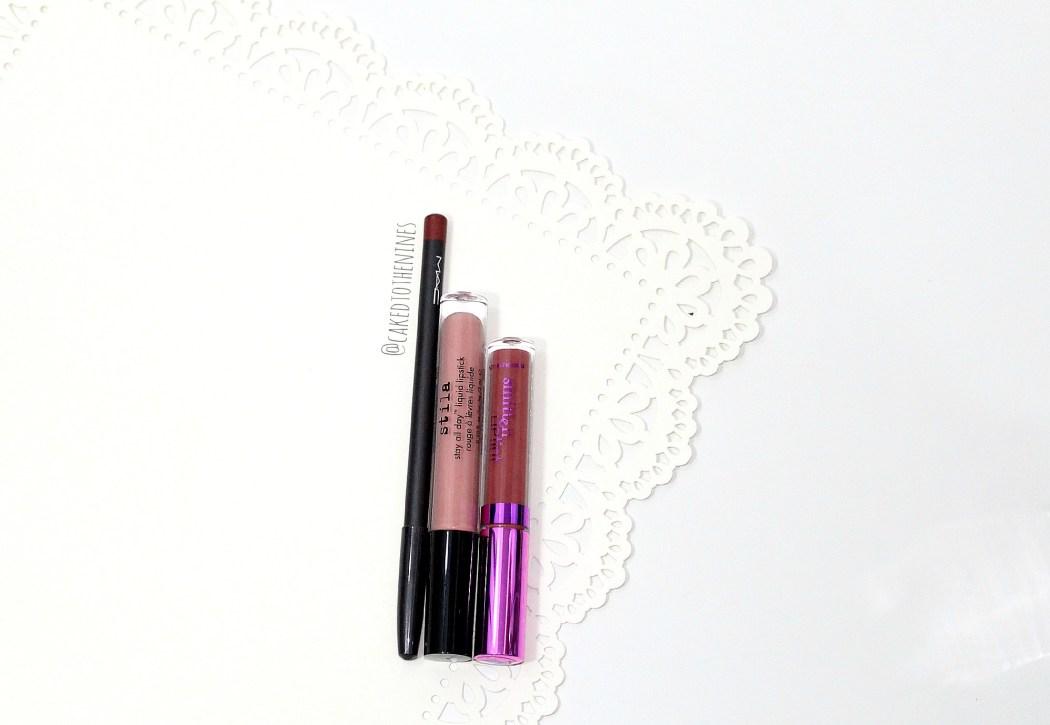 MAC Chicory lip pencil, Stila Bellissima liquid lipstick, and LA Splash Latte Confession liquid lipstick