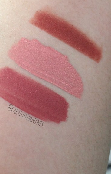 MAC Chicory lip pencil, Stila Bellissima liquid lipstick, and LA Splash Latte Confession liquid lipstick