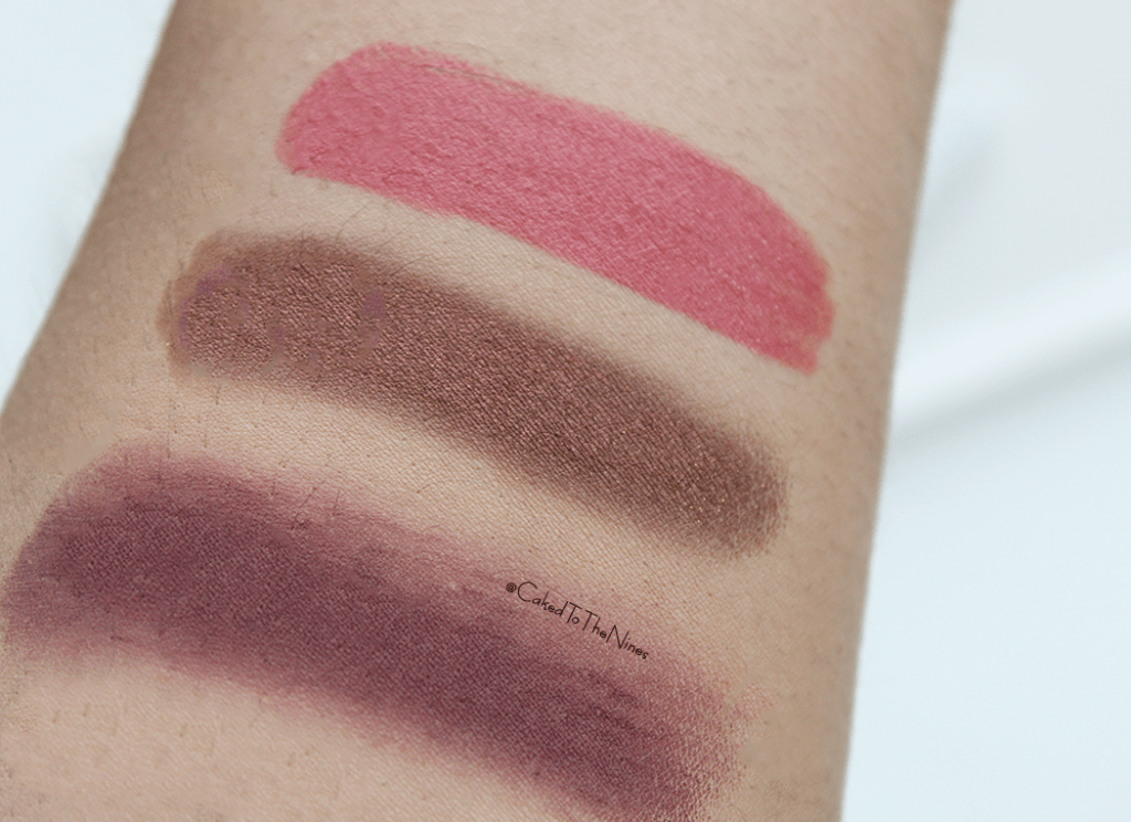 ColourPop Back To The 90s swatches | top to bottom: Topanga, Boy Band, and Central Perk, colourpop 90s swatches