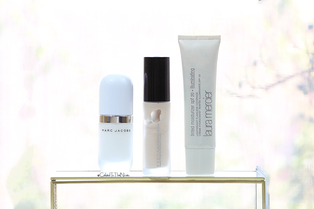 Base product for a radiant glow   left to right: Marc Jacobs Undercover Perfecting Coconut Face Primer, Becca Backlight Priming Filter, and Laura Mercier Illuminating Tinted Moisturizer
