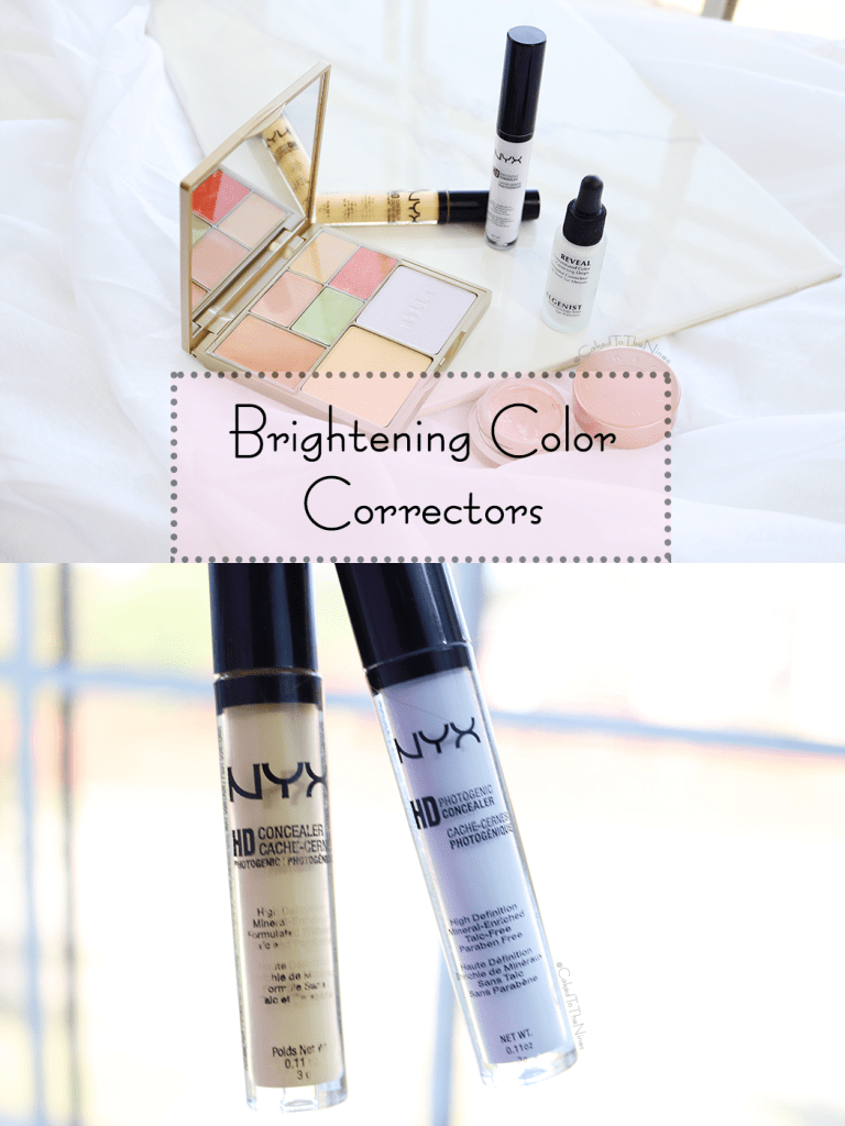Brightening Color Correctors | Stila Correct & Perfect All-In-One Color Correcting Palette, NYX HD Concealer in Lavender and Yellow, Algenist Reveal Concentrated Color Correcting Drops in Blue, Becca Under Eye Brightening Corrector