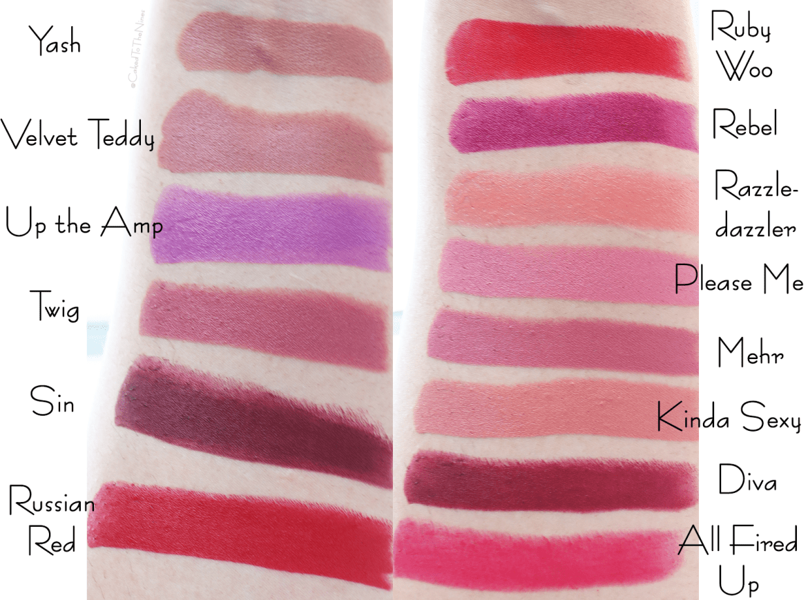 14 MAC lipsticks for medium and Indian skin. All Fired Up, Diva, Kinda Sexy, Mehr, Please Me, RazzleDazzler, Rebel, Ruby Woo, Russian Red, Sin, Twig, Up the Amp, Velvet Teddy, Yash