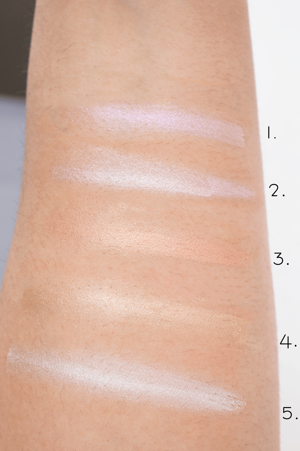Jouer Mermaid Glow Palette swatches | 1. Crystal 2. Seashell 3. Champagne 4. Tiare 5. Camellia